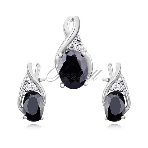 Silver (925) elegant jewelry set with black zirconia