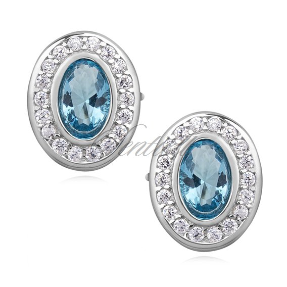 Silver (925) elegant oval earrings with aqamarine zirconia