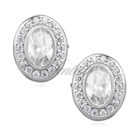 Silver (925) elegant oval earrings with zirconia