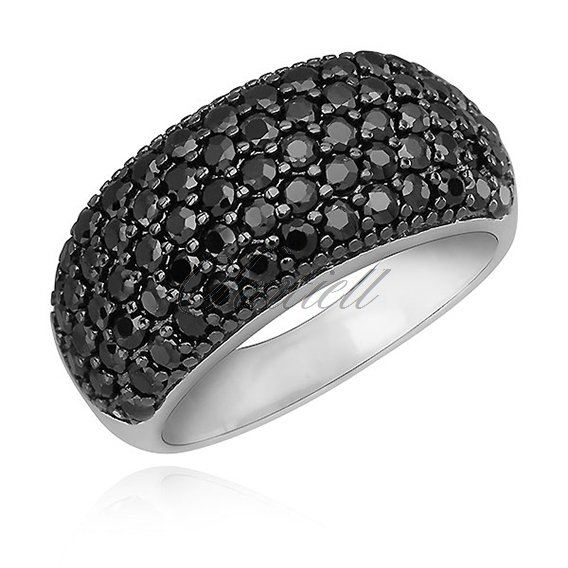 Silver (925) elegant ring with black zirconia - convex