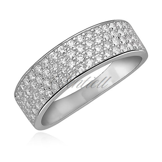 Silver (925) elegant ring with white zirconia