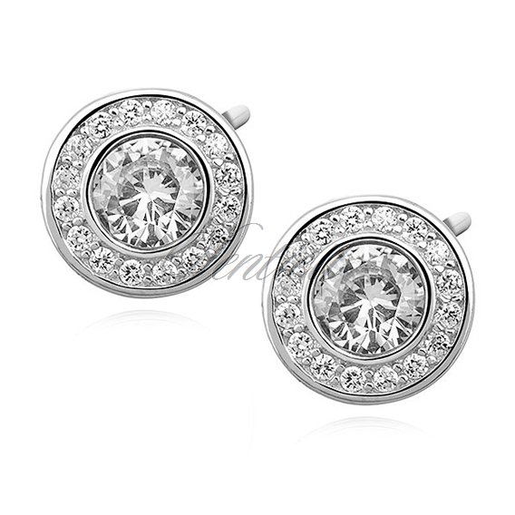 Silver (925) elegant round earrings with white zirconia