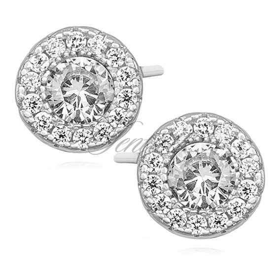 Silver (925) elegant round earrings with zirconia