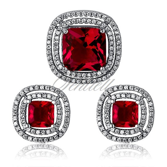 Silver (925) elegant set - ruby