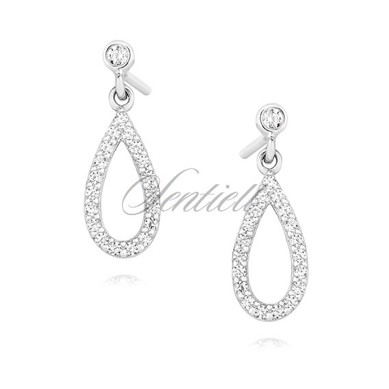 Silver (925) elegant tear shape earrings with zirconia