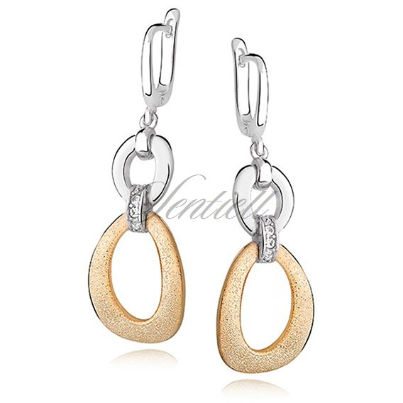Silver (925) fascinating earrings - diamound cut, gold-plated
