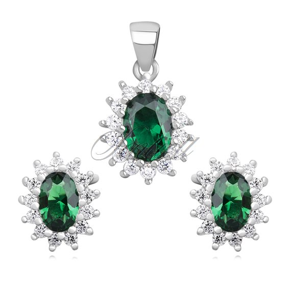 Silver (925) fashionable jewelry set with emerald zirconia