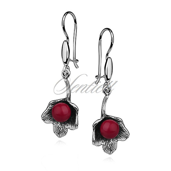 Silver (925) flower earrings - red ball