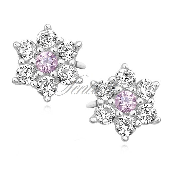 Silver (925) flower earrings with light pink zirconia