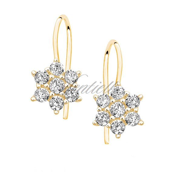 Silver (925) flower earrings with zirconia, gold-plated