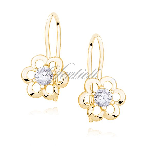 Silver (925) gold plated Earrings white zirconia