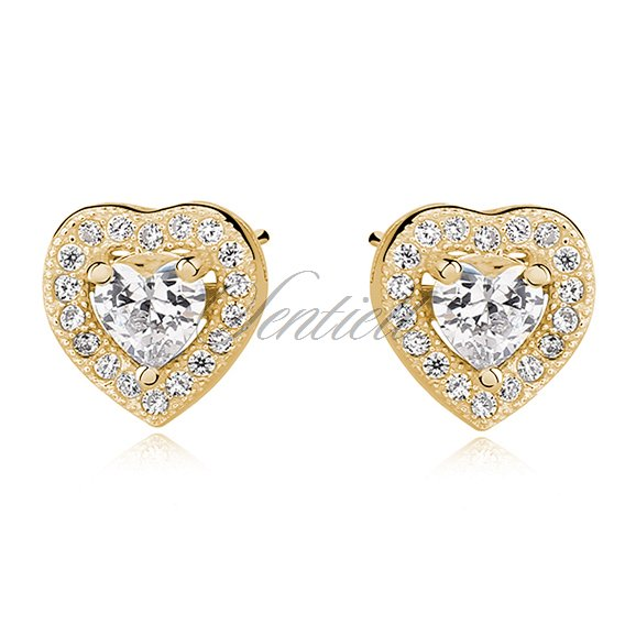 Silver (925) gold-plated Earrings white zirconia - hearts