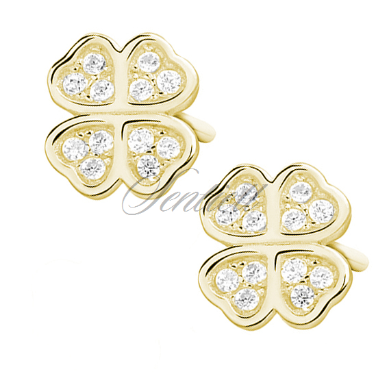 Silver (925) gold-plated clover earrings with zirconia