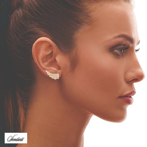 Silver (925) gold-plated cuff earrings - wings with zirconia