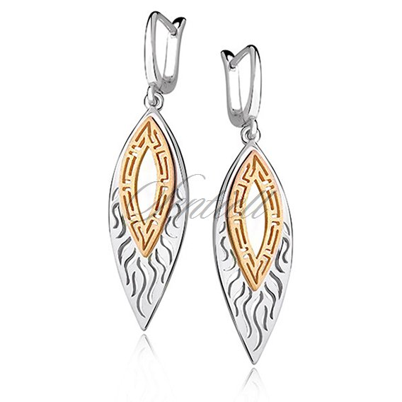 Silver (925) gold-plated earrings - greek flame
