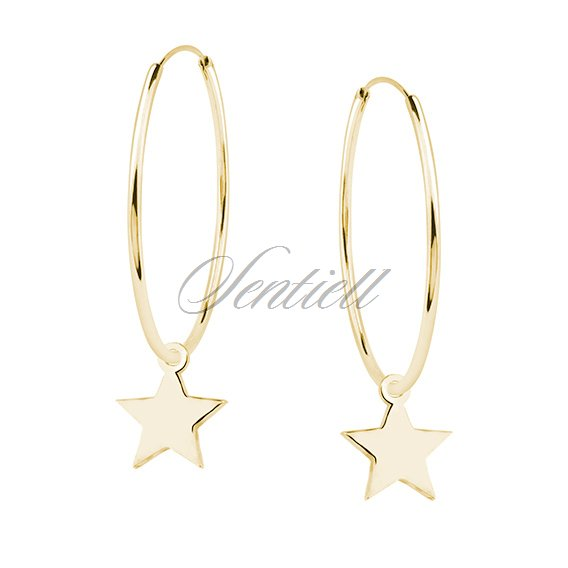 Silver (925) gold-plated earrings hoop with stars