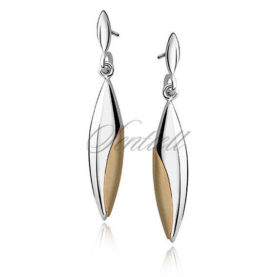 Silver (925) gold-plated earrings - marquise with satin