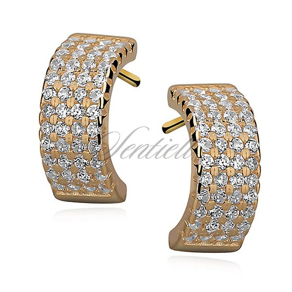 Silver (925) gold-plated earrings open hoop with zirconia