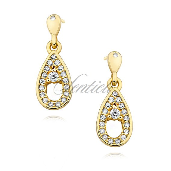 Silver (925) gold-plated earrings - teardrop with zirconia