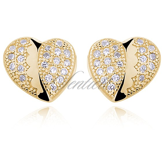 Silver (925) gold-plated heart earrings with zirconia