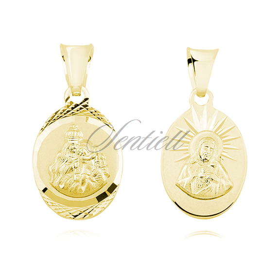 Silver (925) gold-plated pendant - Jesus Christ / Scapular Mary