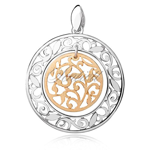 Silver (925) gold-plated pendant - openwork vine