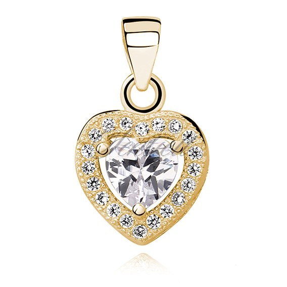 Silver (925) gold-plated pendant white colored zirconia - heart