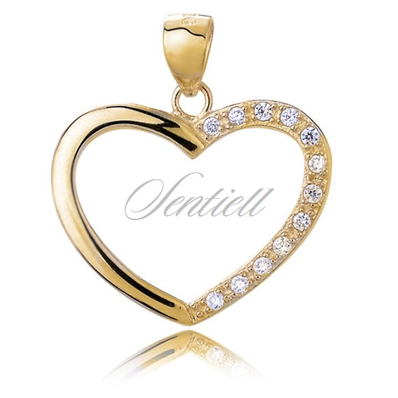 Silver (925) gold plated pendant white zirconia - heart
