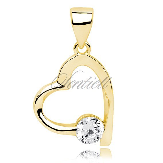 Silver (925) gold-plated  pendant zirconia - heart single zircon
