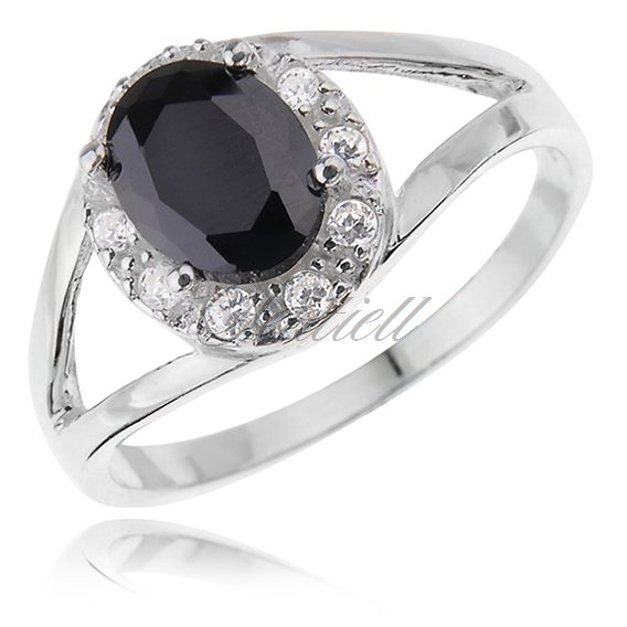 Silver (925) halo ring with black & white zirconia
