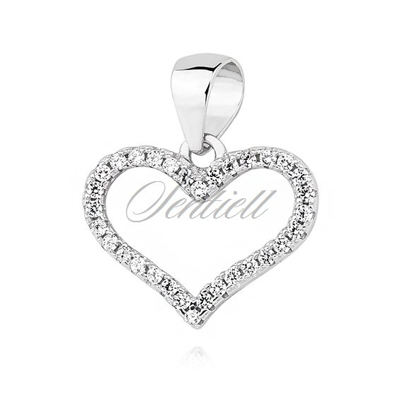 Silver (925) heart pendant with zirconia