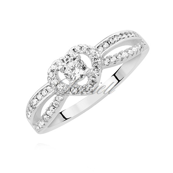 Silver (925) heart ring with white zirconia