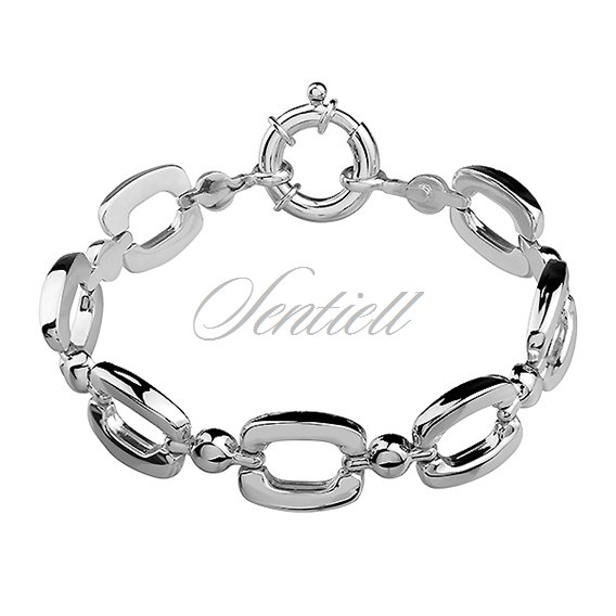 Silver (925) high polished bracelet with big clasp