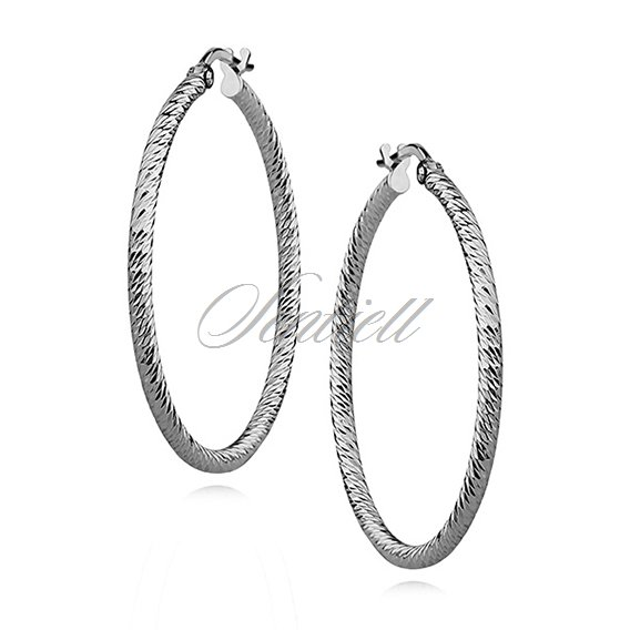 Silver (925) hoop earrings - diamond-cut