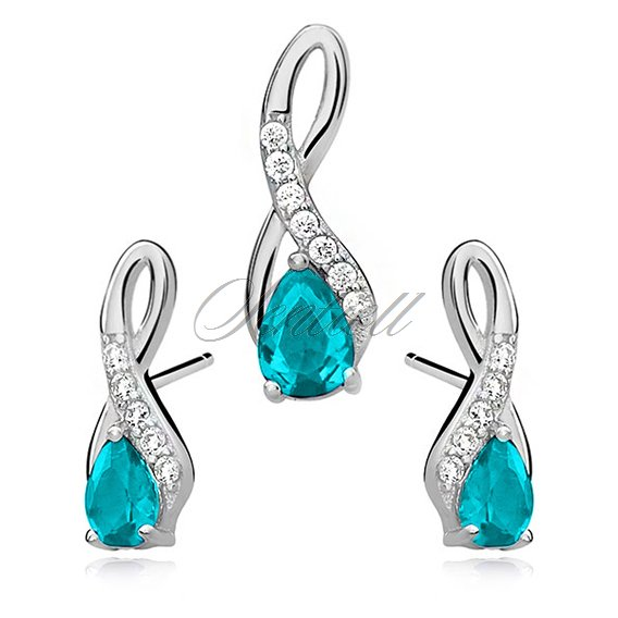 Silver (925) jewelry set -  aquamarine drop adorned with white zirconia