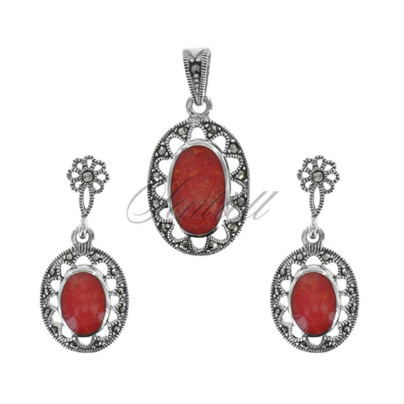 Silver (925) jewelry set (earrings and a pendant) coral and marcasites