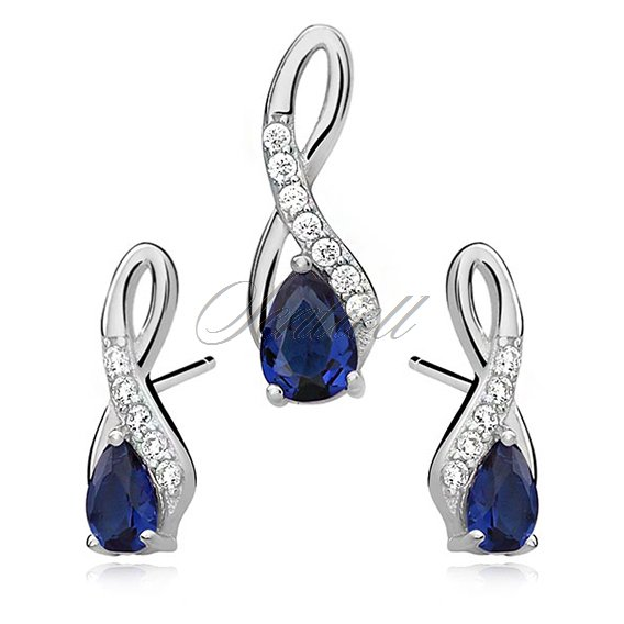 Silver (925) jewelry set - sapphire drop adorned with white zirconia