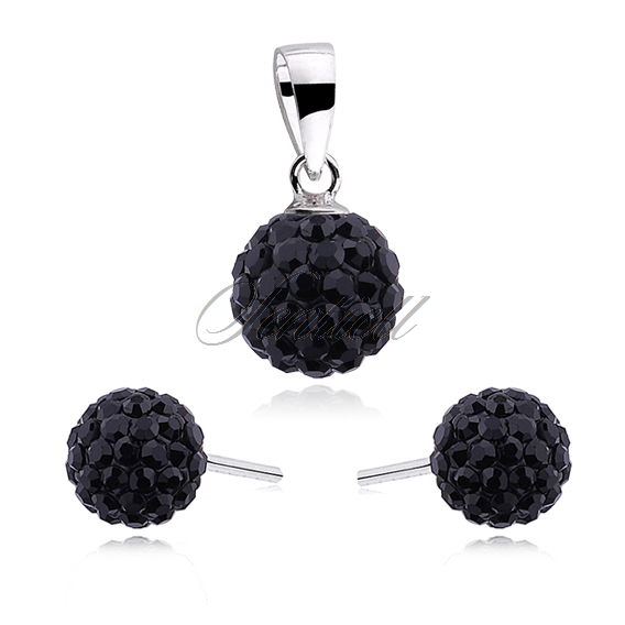 Silver (925) jewelry set - white balls