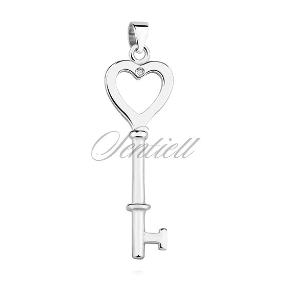 Silver (925) key pendant with zirconia  - heart