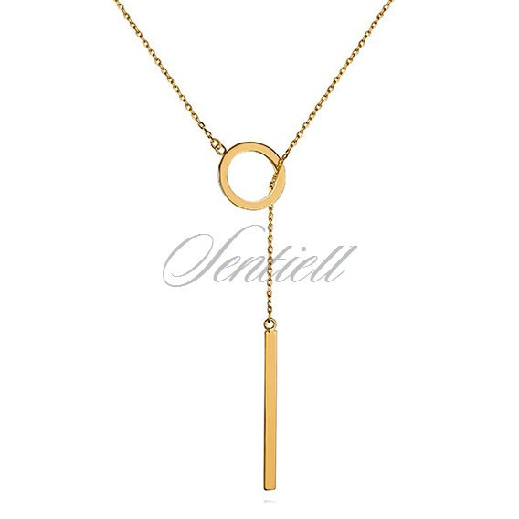 Silver (925) lariat necklace with circle and rectangle pendant - gold plated
