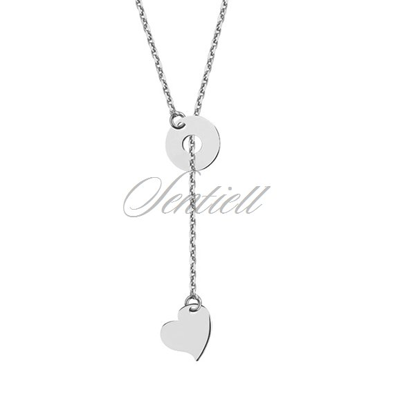 Silver (925) lariat necklace with heart and circle