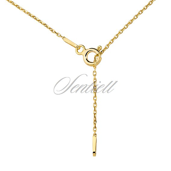 Silver (925) lariat necklace with leaf pendant and circle - gold-plated