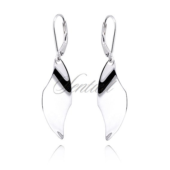 Silver (925) modern earrings highly polished - 1 leaf