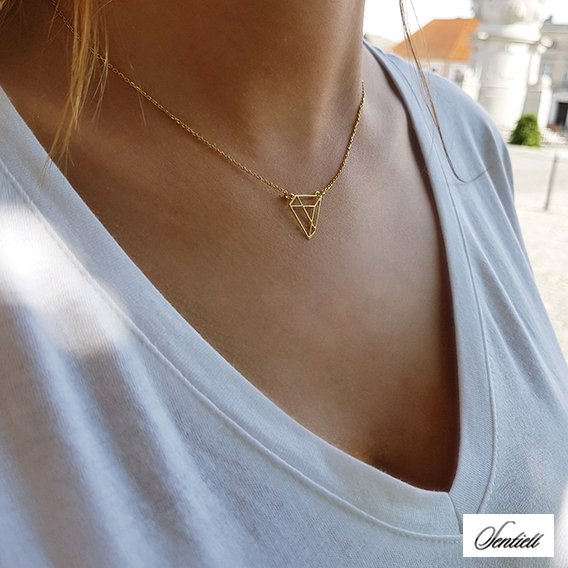 Silver (925) necklace - Origami triangle, gold-plated