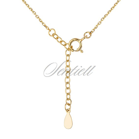 Silver (925) necklace - cirlces with zirconia - gold-plated
