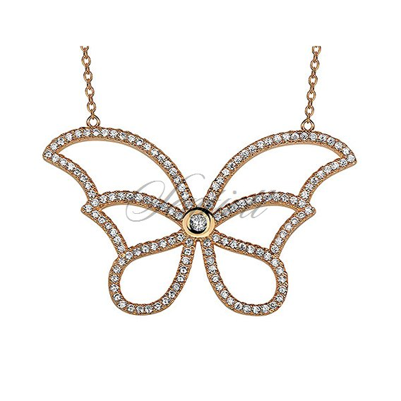 Silver (925) necklace - gold-plated butterfly with zirconia