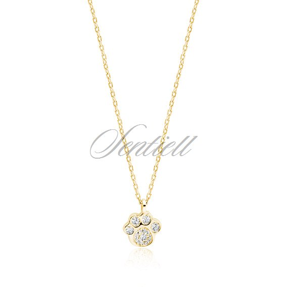 Silver (925) necklace - gold-plated dog / cat paw