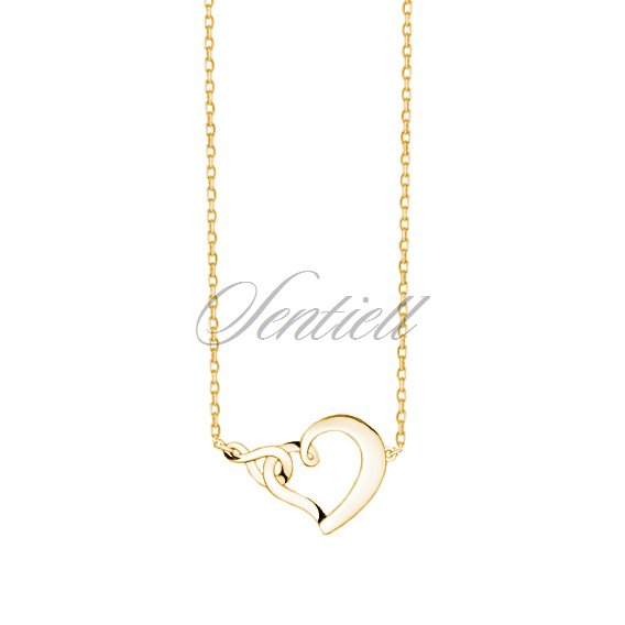 Silver (925) necklace heart and infinity - gold-plated