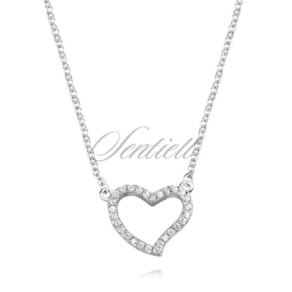 Silver (925) necklace - heart with zirconia