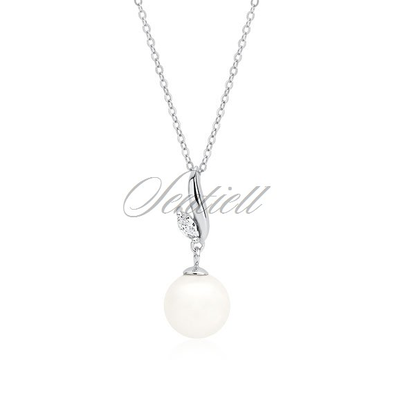 Silver (925) necklace pearl with white zirconia